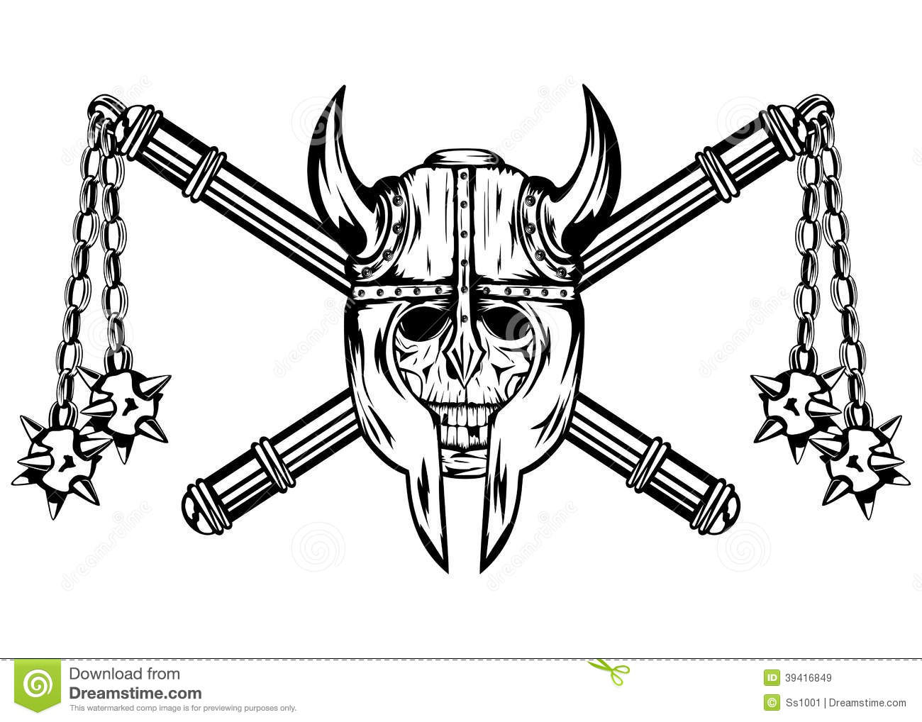 Skull In Helmet And Crossed Maces Stock Vector