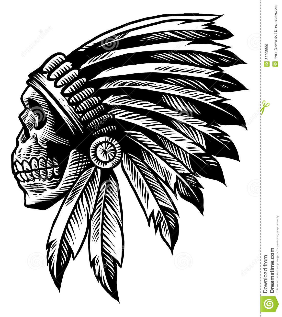 Skull Indian Chief In Hand Drawing Style Stock Vector