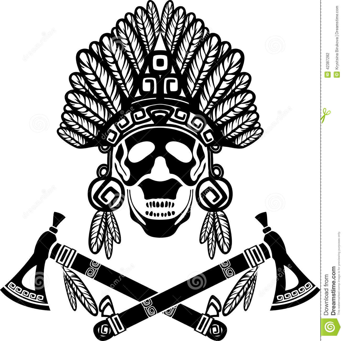 hight resolution of skull in indian headdress