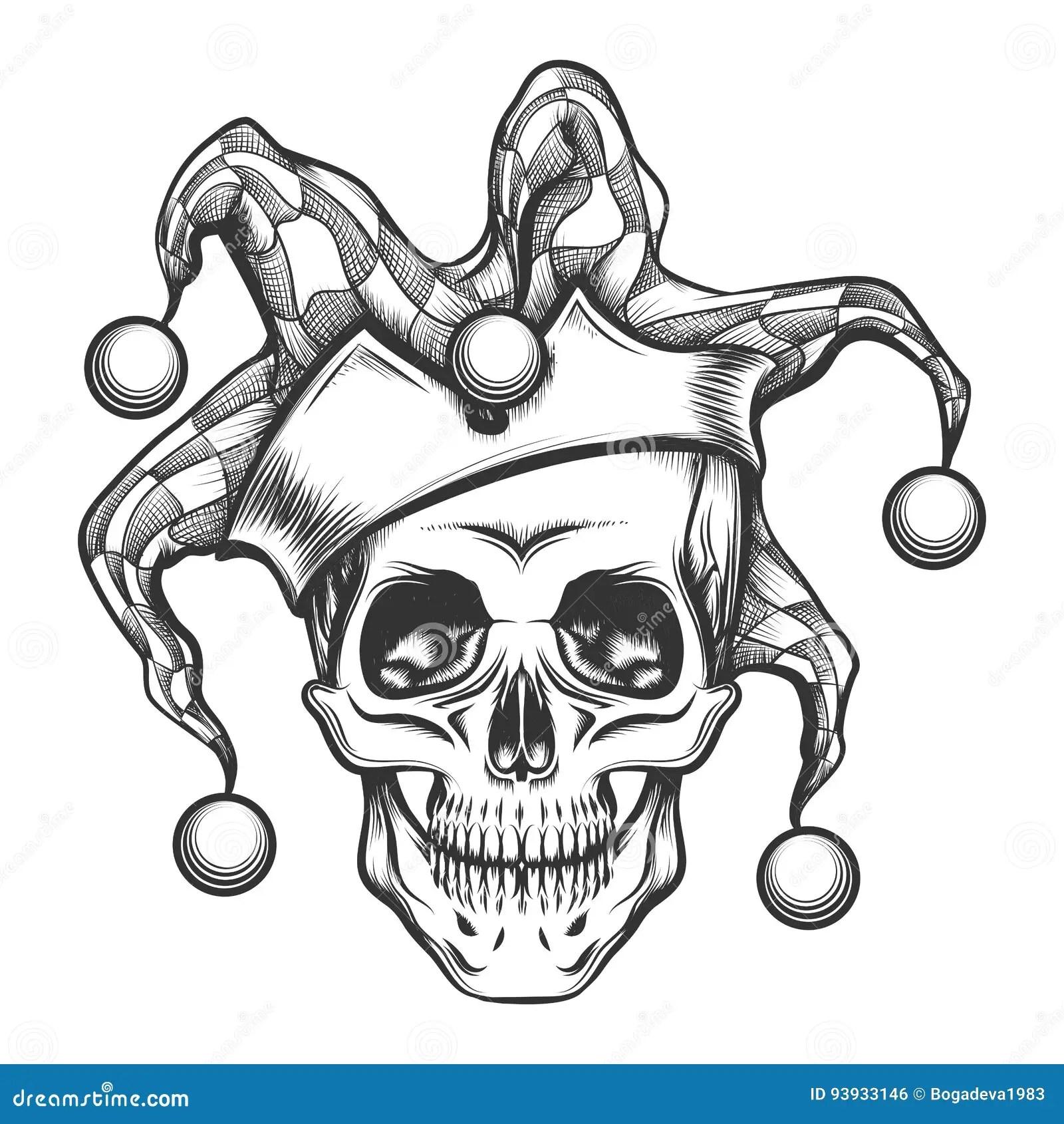 The Skull In Joker Cap Stock Vector Illustration Of Dead