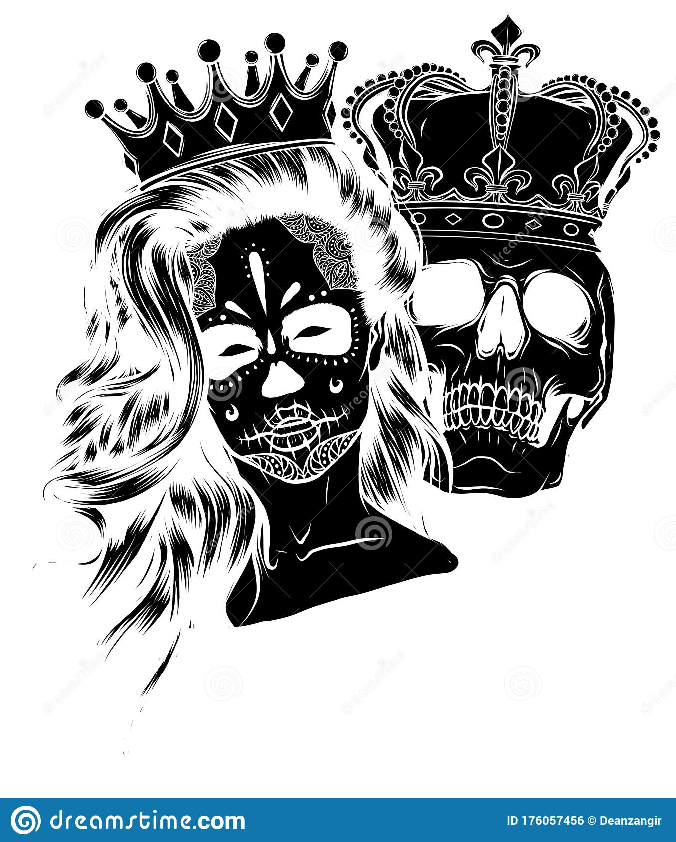 King And Queen Drawings : queen, drawings, Skull, Queen, Stock, Illustrations, Illustrations,, Vectors, Clipart, Dreamstime