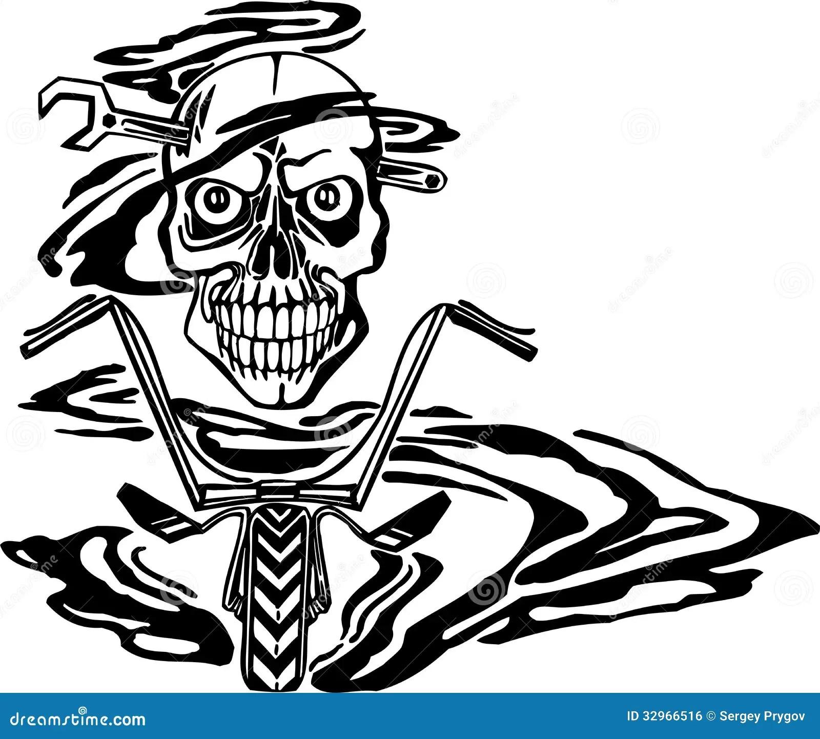 Skull And Motor Vector Illustration Stock Vector
