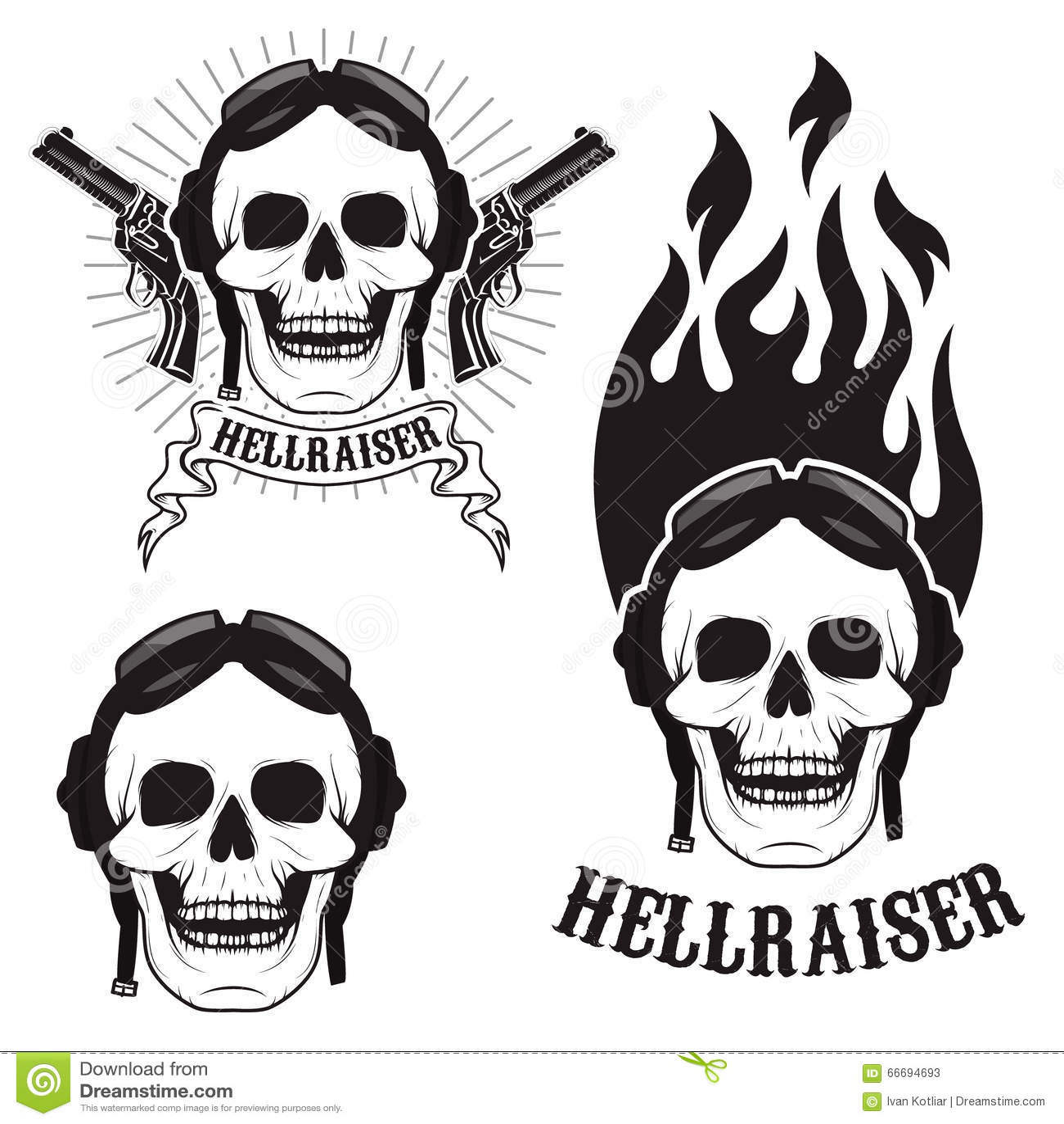 Skull In Motorcycle Helmet With Fire Hellraiser Skull