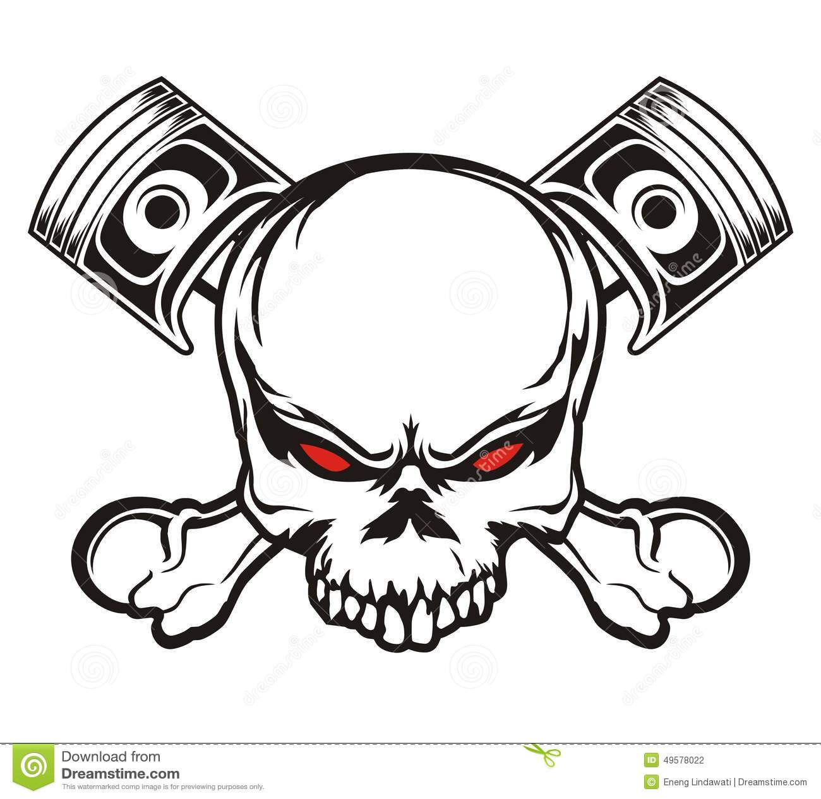 Skull And Piston Stock Illustration Illustration Of