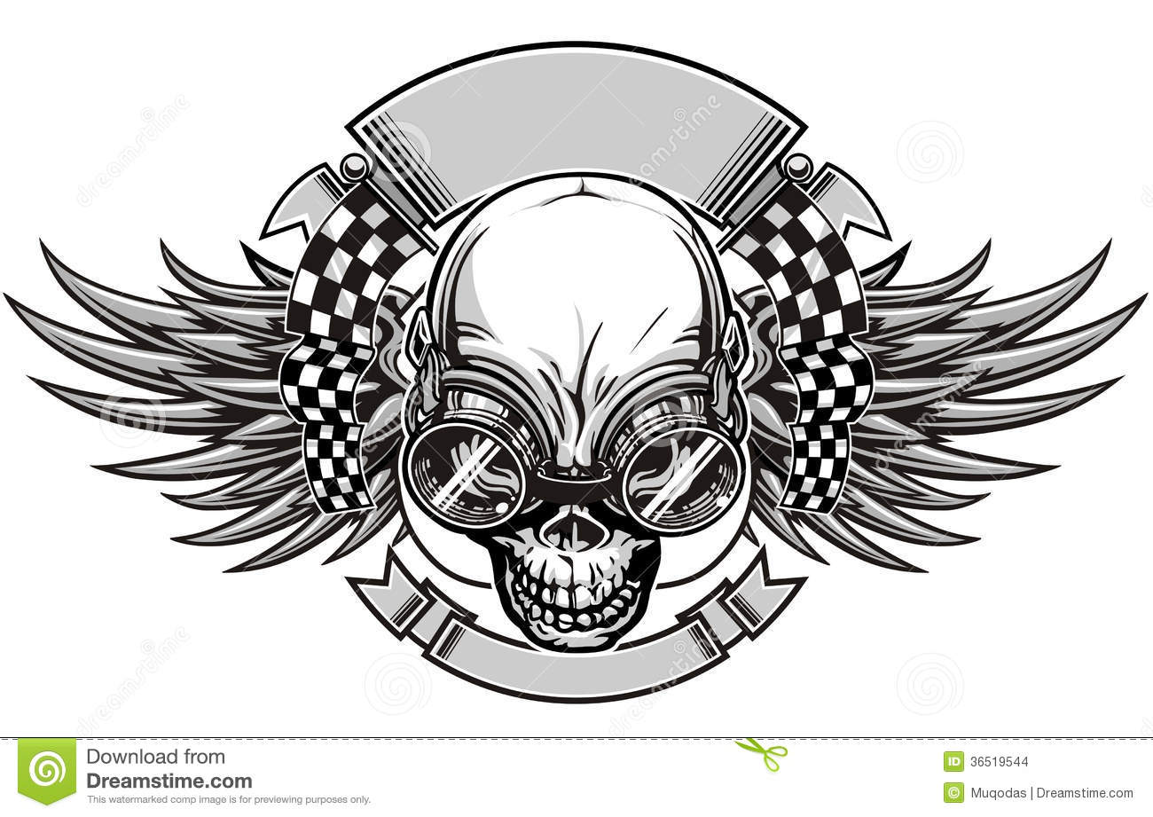 Skull Racing Stock Vector Image Of Crossbones Printing