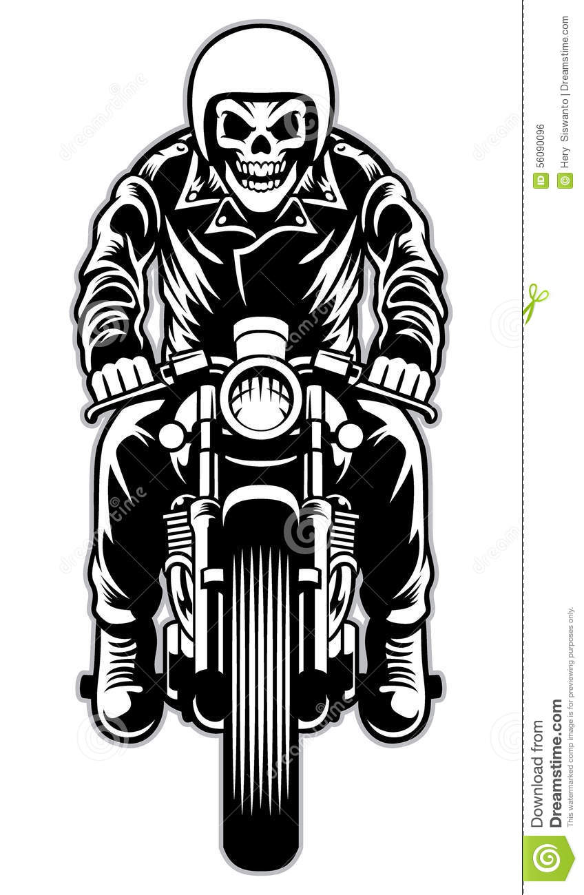Skull Riding A Cafe Racer Motorcycle Style Stock Vector