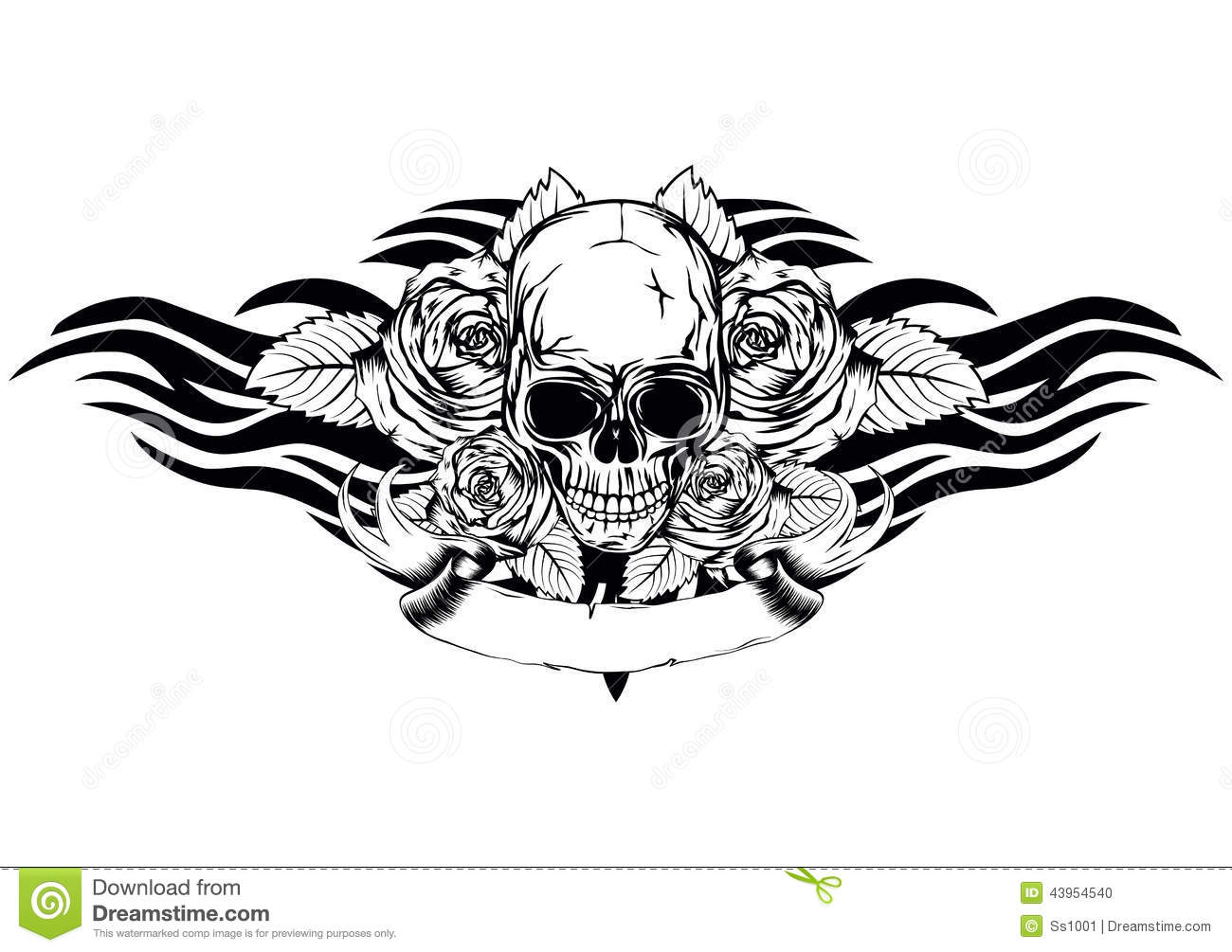 Skull Roses Tribal Stock Vector Illustration Of Grunge