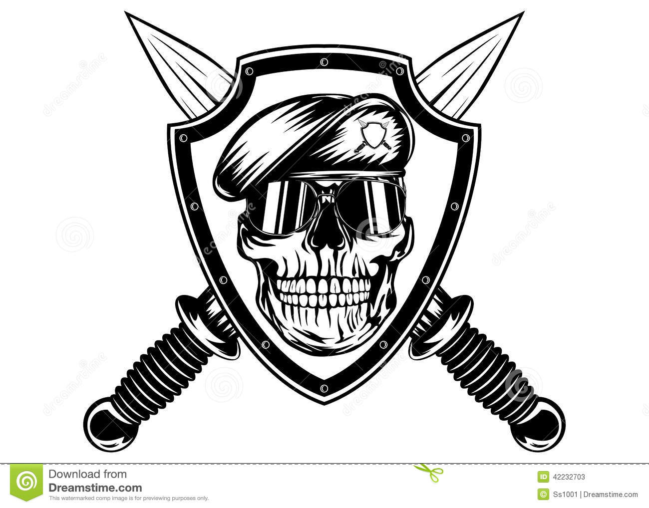Skull In Shield And Daggers Stock Vector