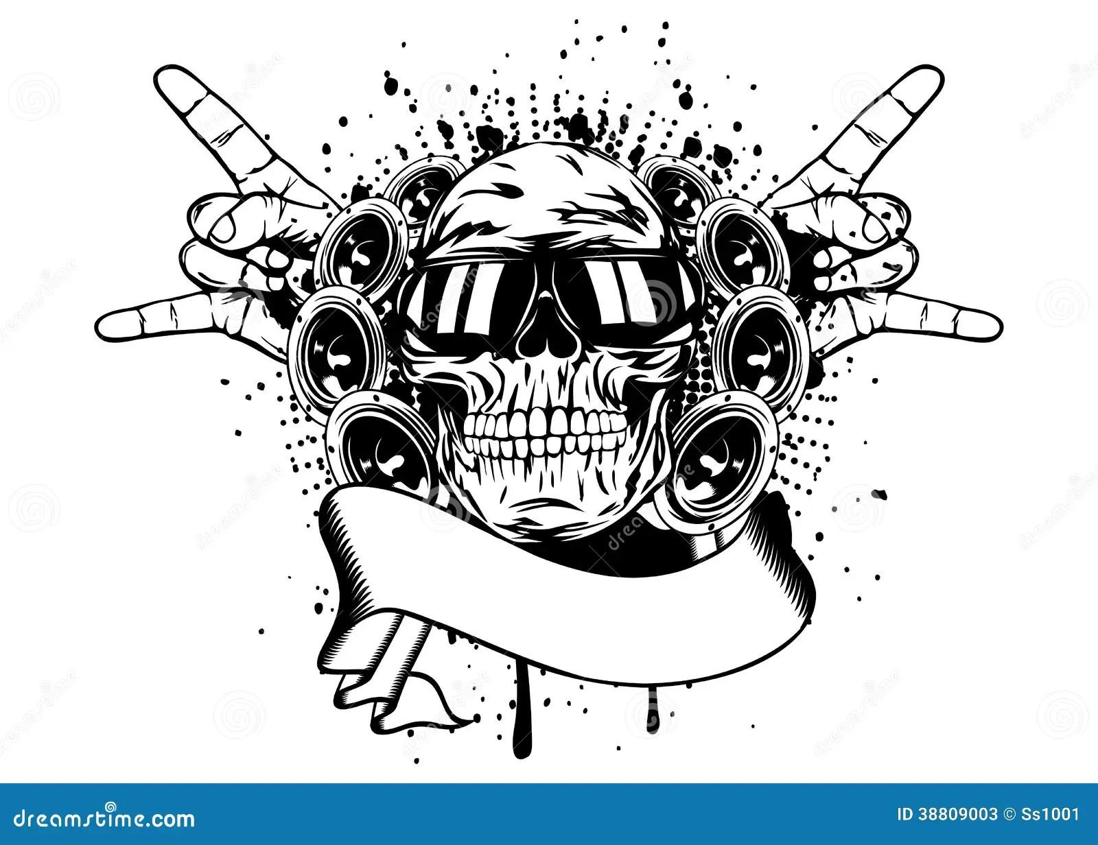 Skull In Sunglasses And Hand Gesture Rock Stock Vector