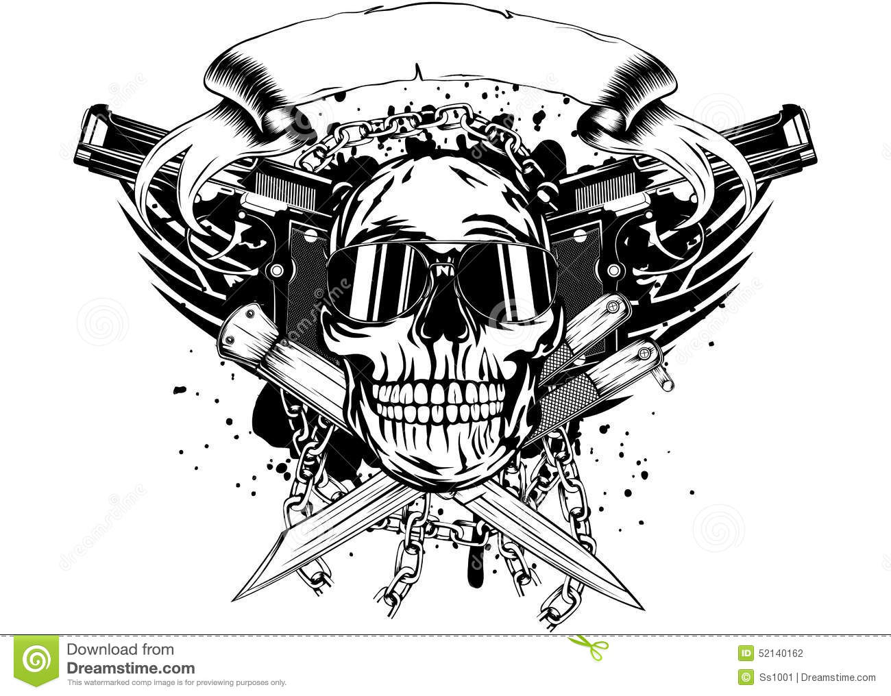 Skull Two Pistols And Crossed Knifes Stock Photo