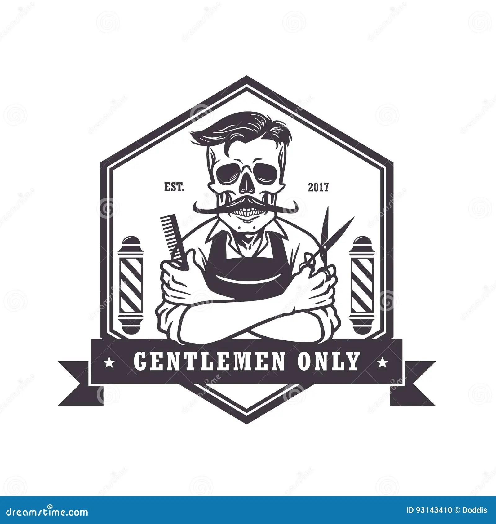 Skull Vintage Barbershop Logo Template Vector Stock Vector