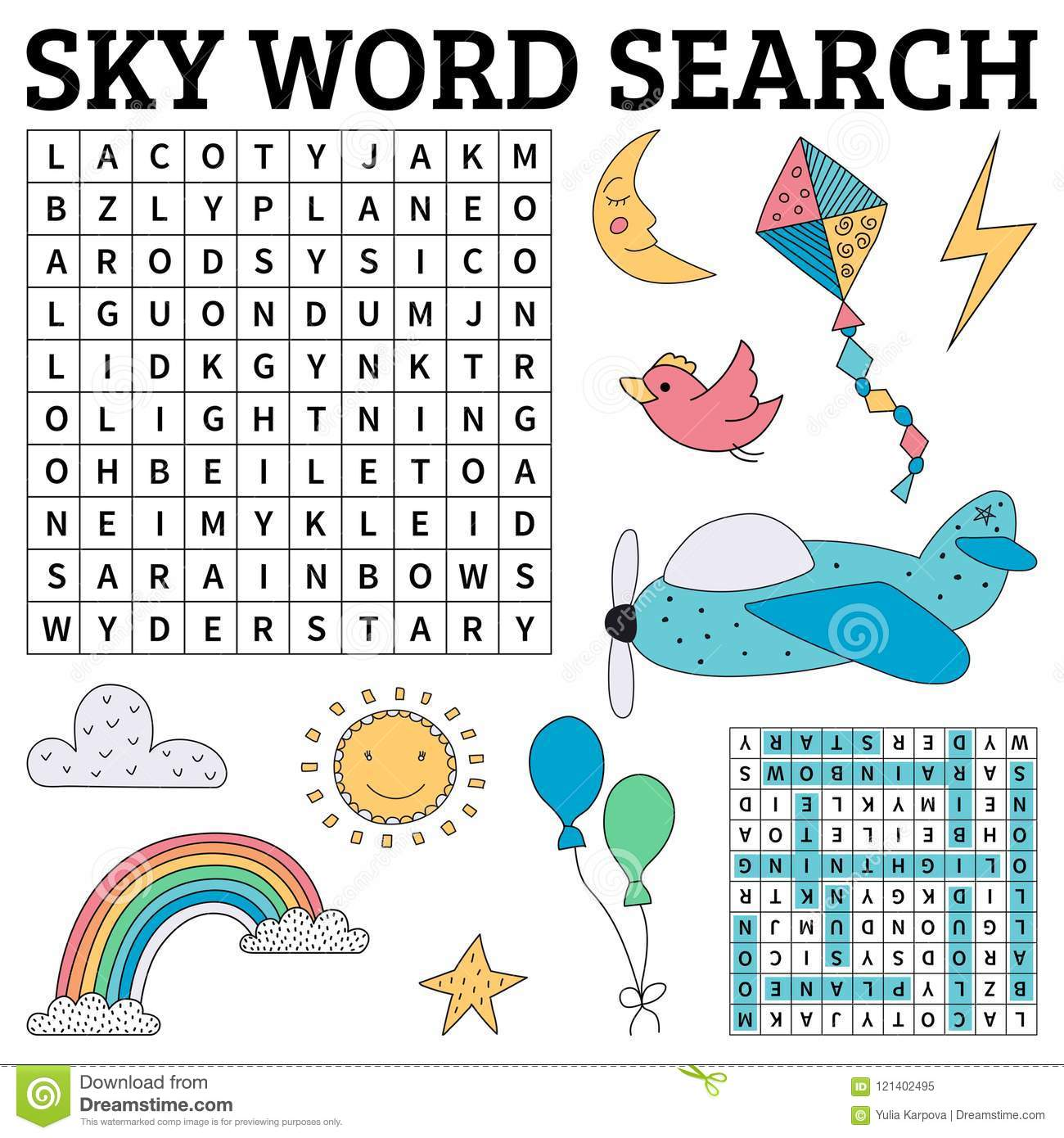 Sky Word Search Game For Kids Stock Vector