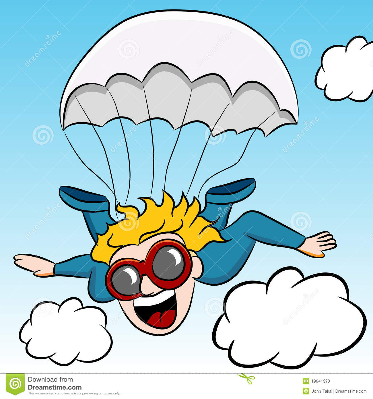 Cartoon Skydiving Parachute