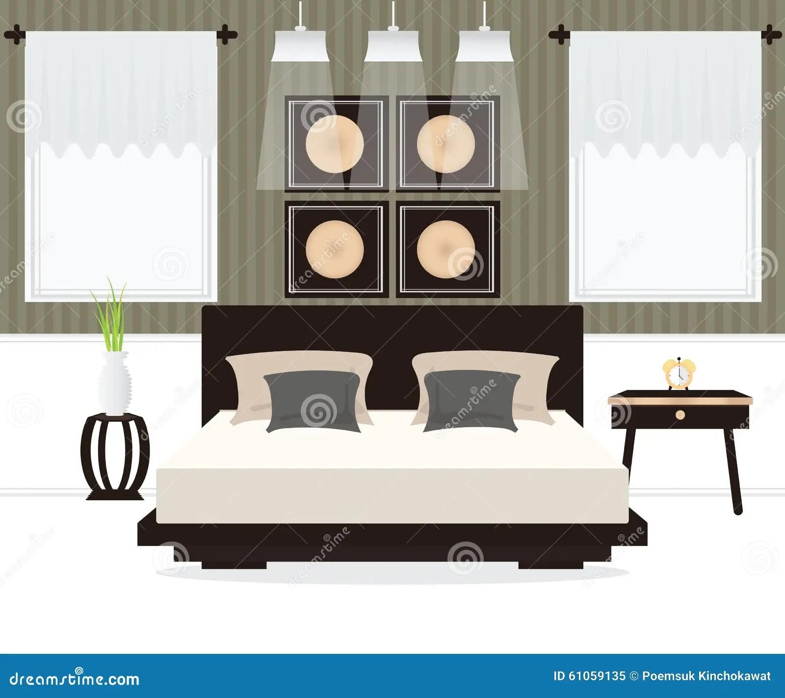 Slaapkamer Binnenlands Ontwerp Vector Illustratie