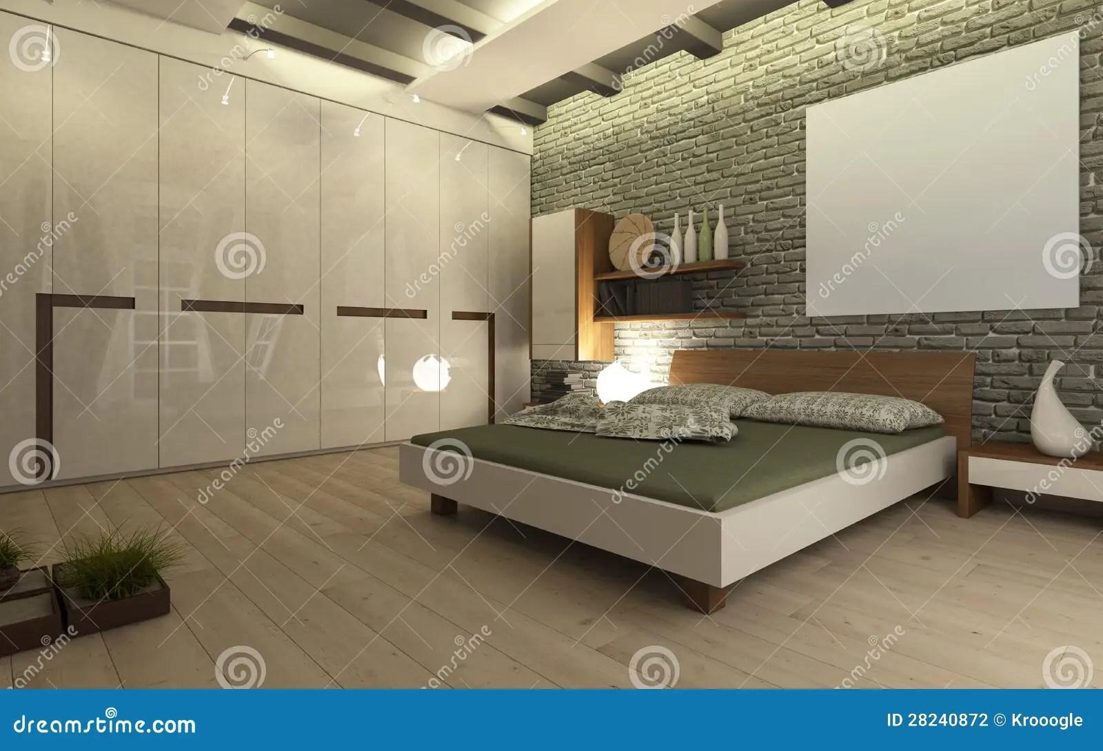 Slaapkamer Met Bakstenen Muur Stock Illustratie