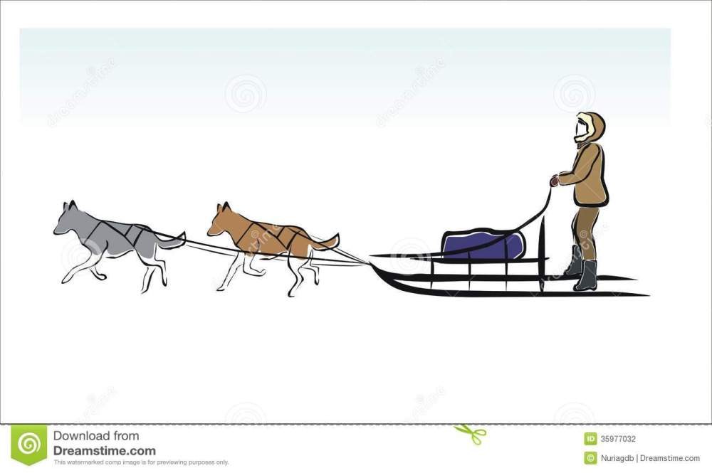 medium resolution of sled dogs drawing of a sled dogs in the snow royalty free illustration