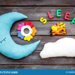 Sleep Copy For Baby Pattern With Moon Pillow Cloud Toy On Wooden Background Top View Stock Photo Image Of Comfort Family 145804028