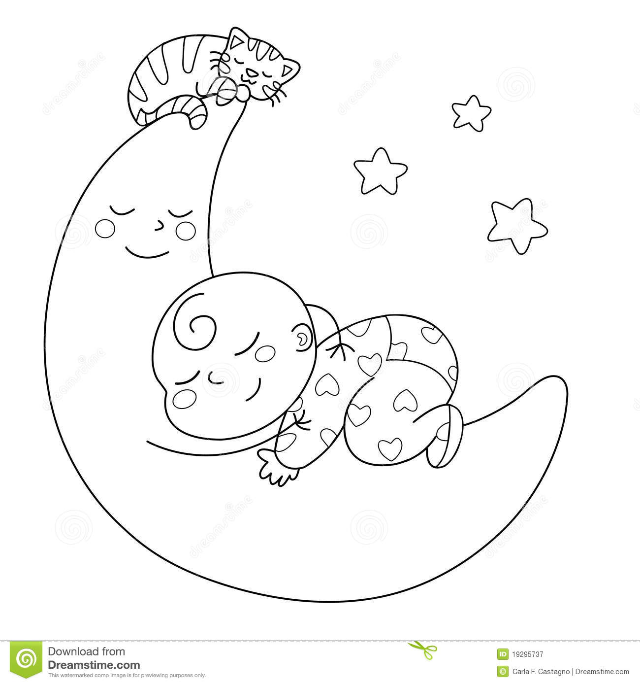 Sleeping Baby Stock Vector Illustration Of Moon White