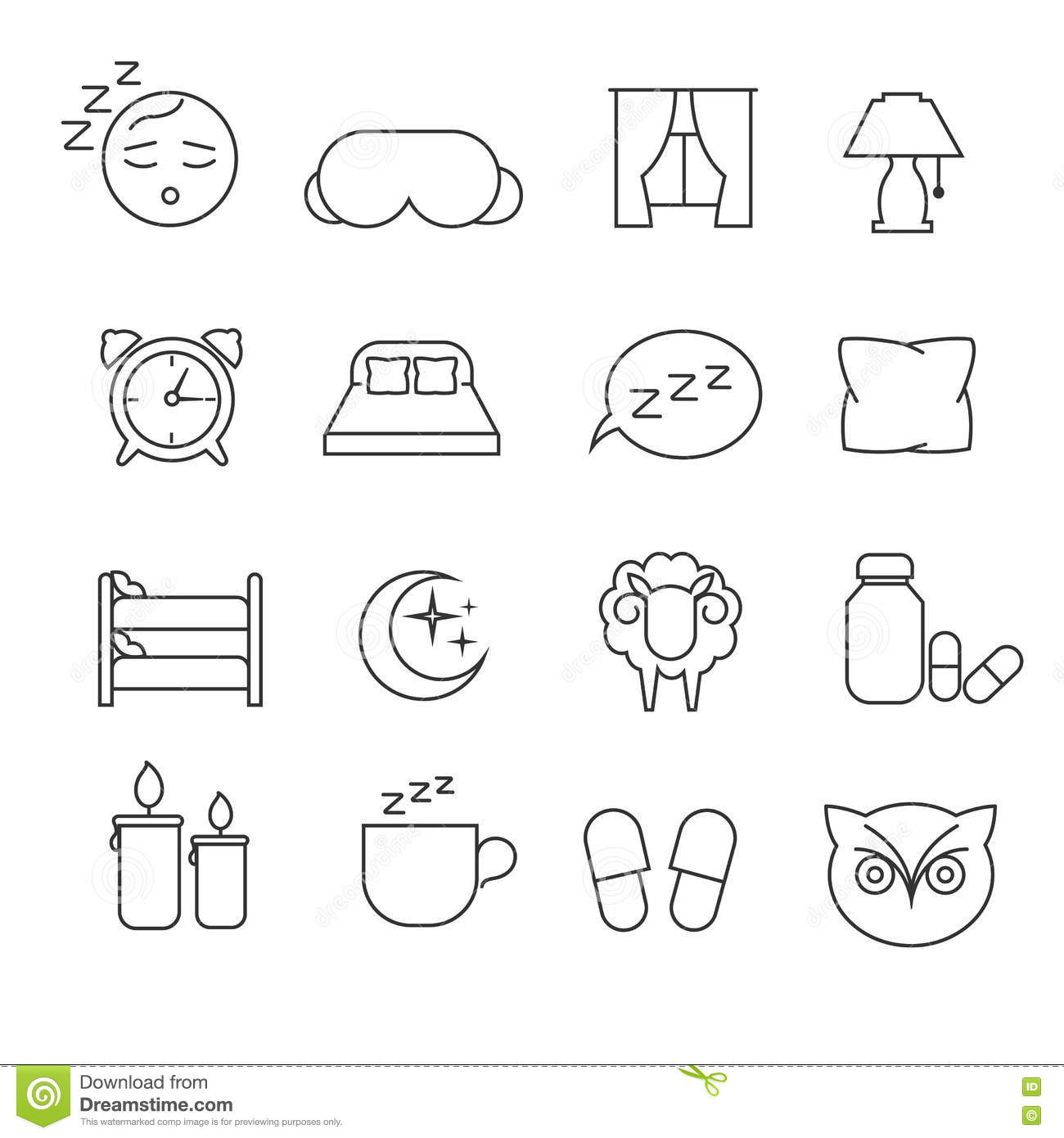 Sleeping Bedtime Rest And Bed Thin Line Icons Set Vector
