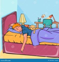 sleeping boy vector cartoon teen character illustration shutterstock breakfast having bed dreamstime preview