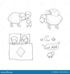 cartoon night cute sleep sleeping sheep boy pajamas print animals farm dreamstime preview