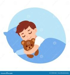 sleeping boy teddy cartoon bear cute child vector bed sleep cat illustration clipart asleep sleepy clip baby dreamstime drawing boys