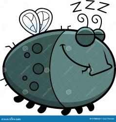 sleeping fly cartoon illustration preview vector