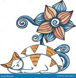sleeping cat vector cartoon illustration sleep preview