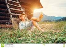 Barefoot Country Boy On Hay