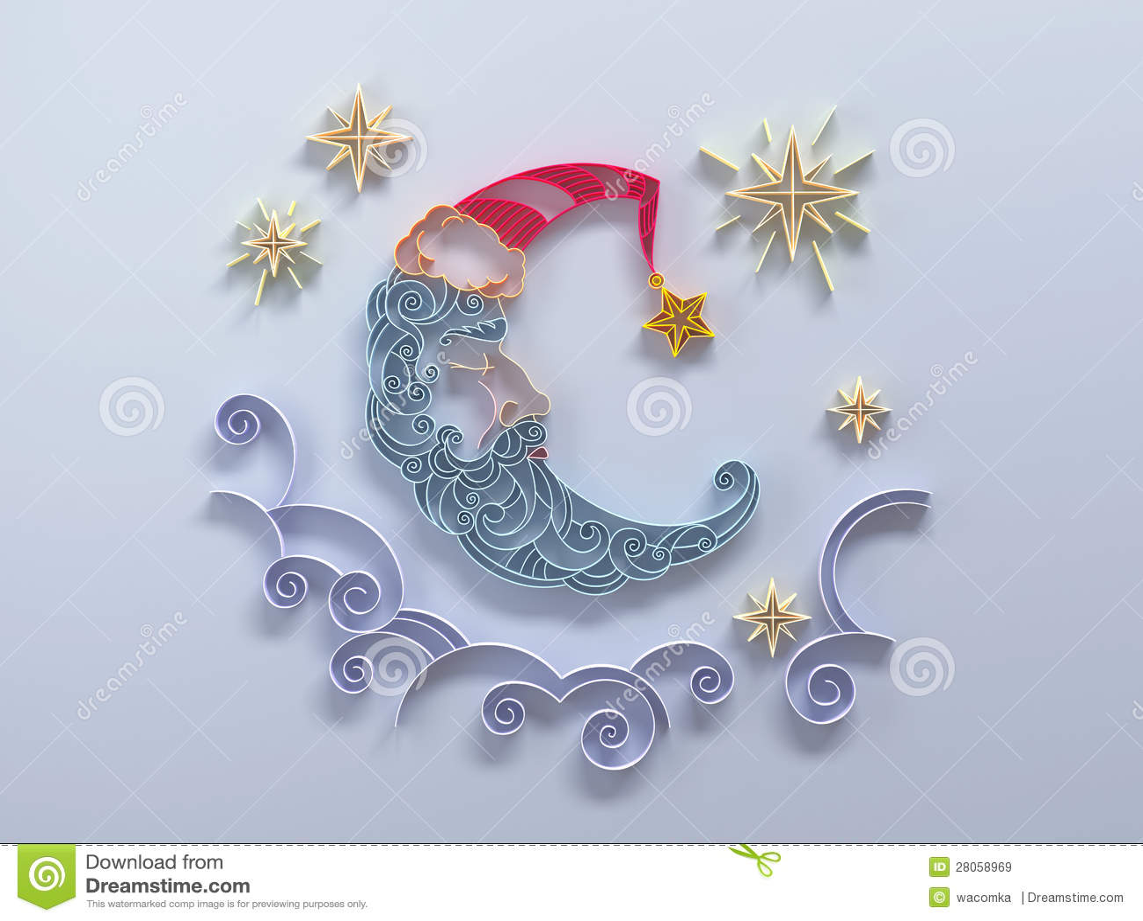 Sleeping Moon Decoration Quilling Stock Illustration
