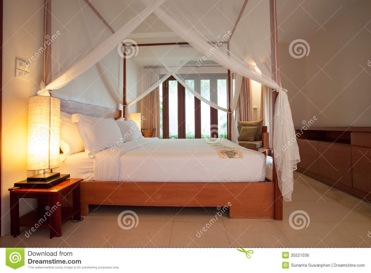 Sleeping Room With Fourposter Bed Royalty Free Stock Image  Image 35521036