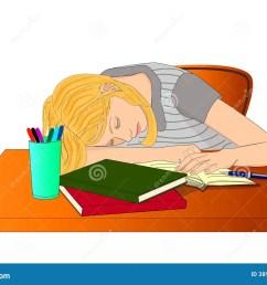 sleeping student girl [ 1300 x 981 Pixel ]