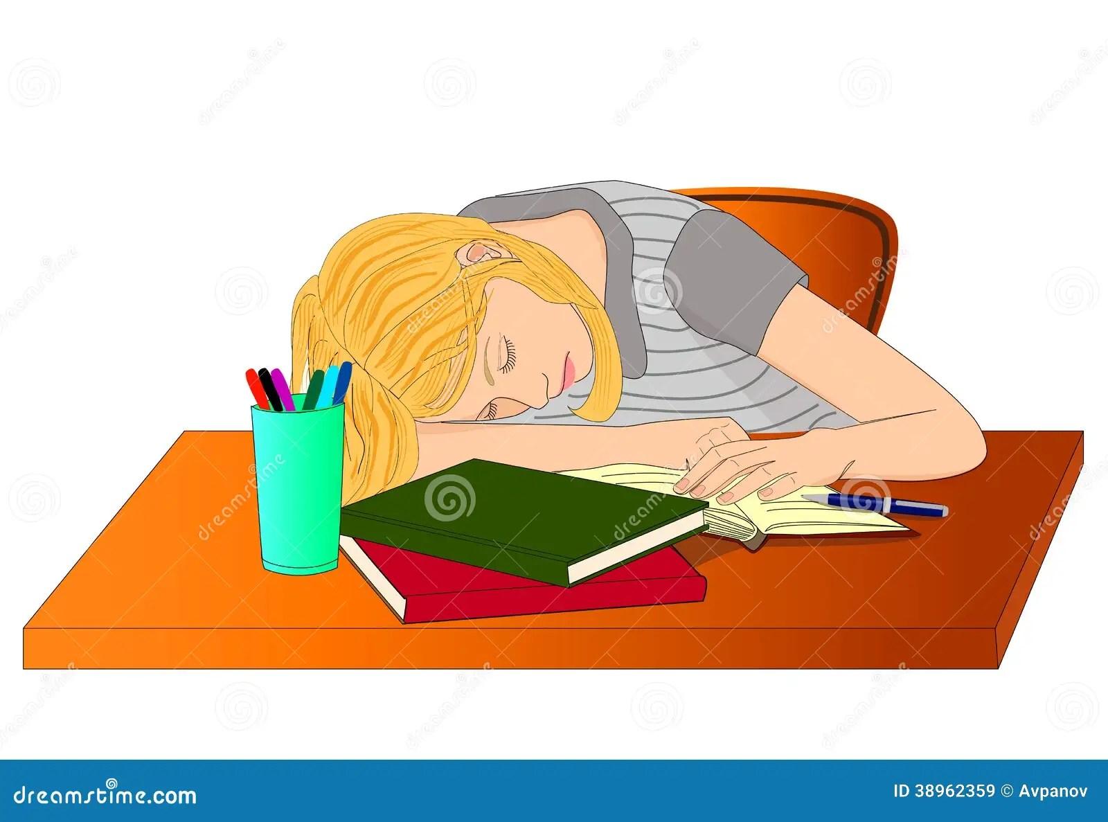 hight resolution of sleeping student girl