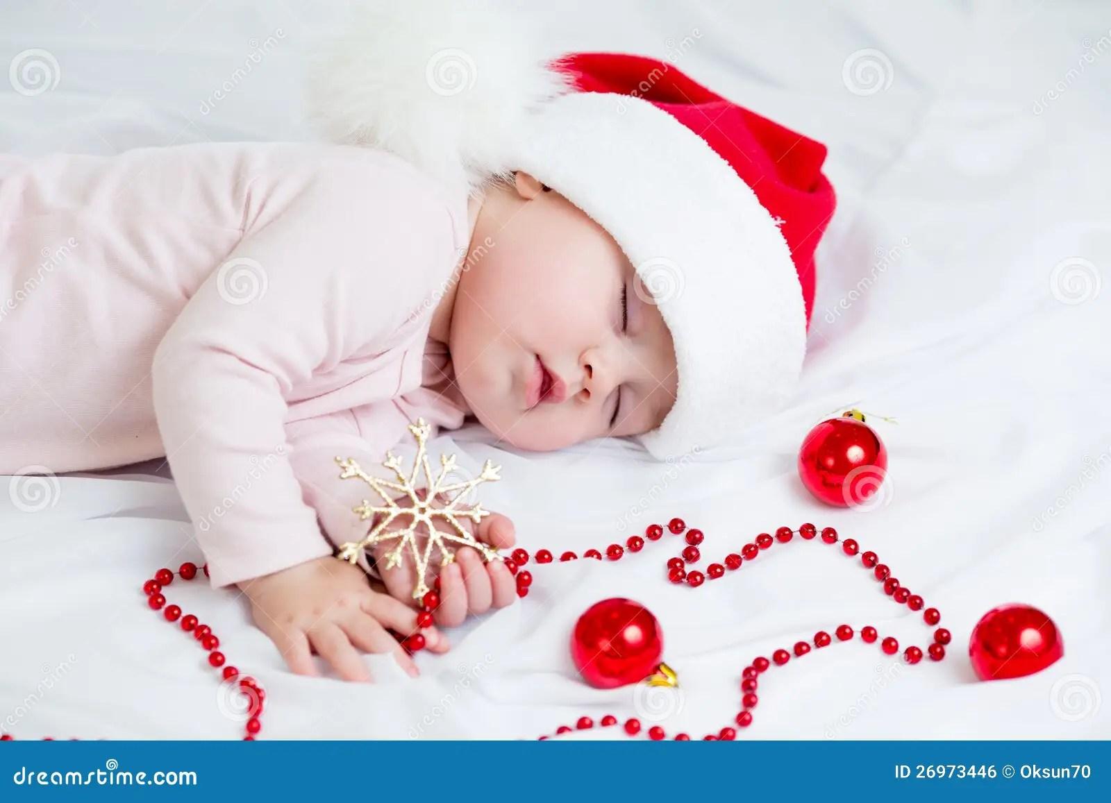 Cute Girl Child Wallpapers Free Download Sleeping Sweet Baby Girl Santa Claus Stock Photo Image