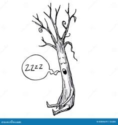 sleeping cartoon tree illustration vector