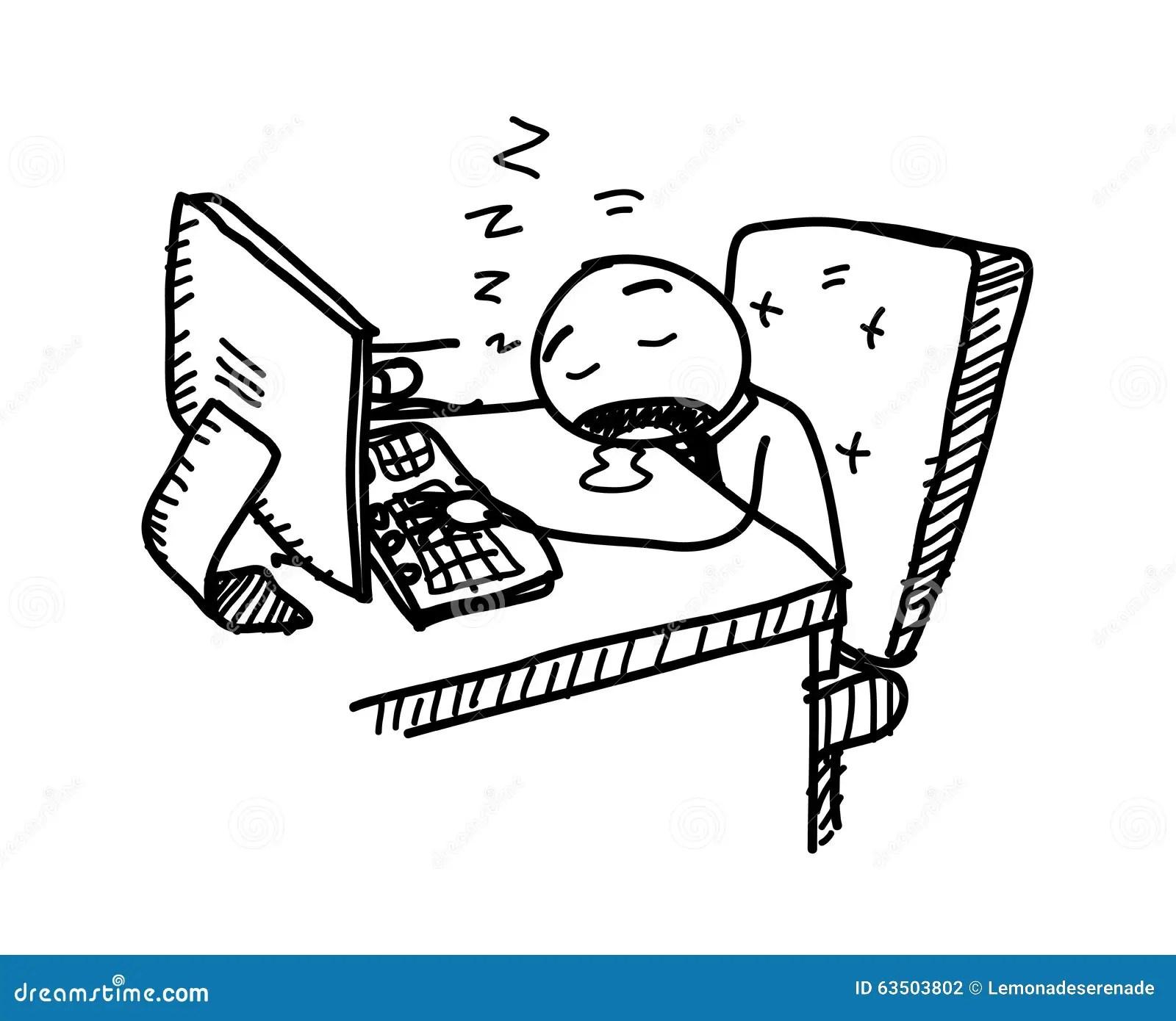 Sleeping At Work Stock Vector