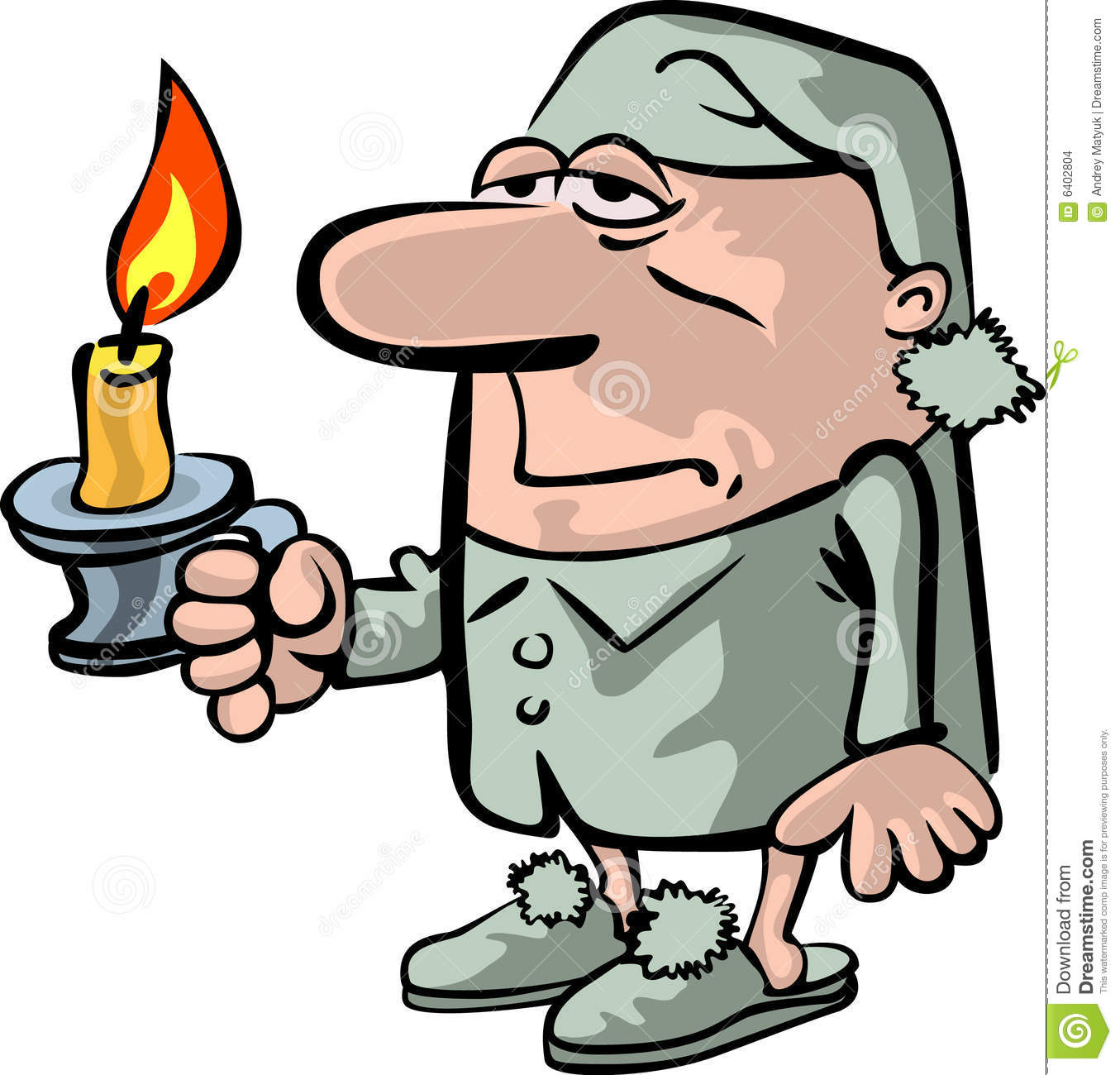 The Sleepy Person With A Candle Stock Images  Image 6402804