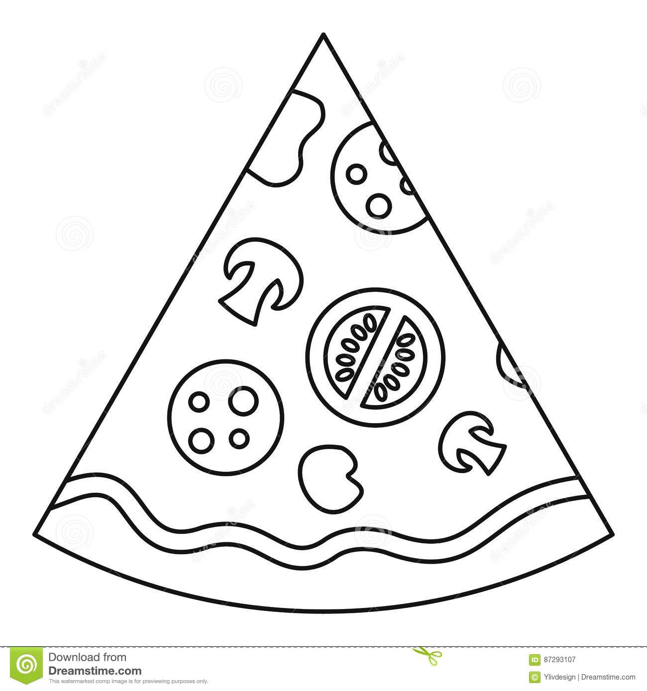 Slice Of Pizza Icon Outline Style Stock Vector