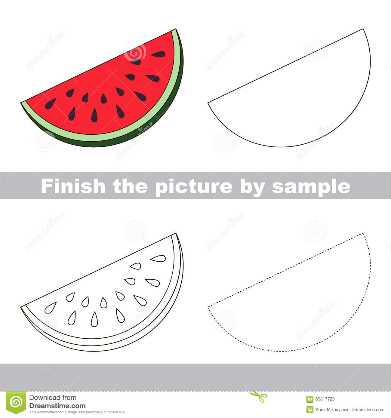 Slice Of Watermelon Drawing Worksheet Stock Vector