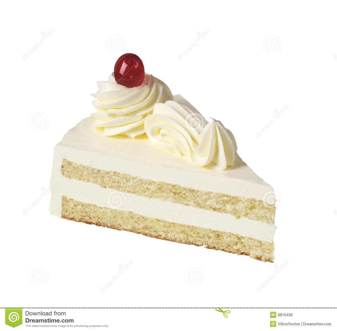 hight resolution of slice of white cream cake
