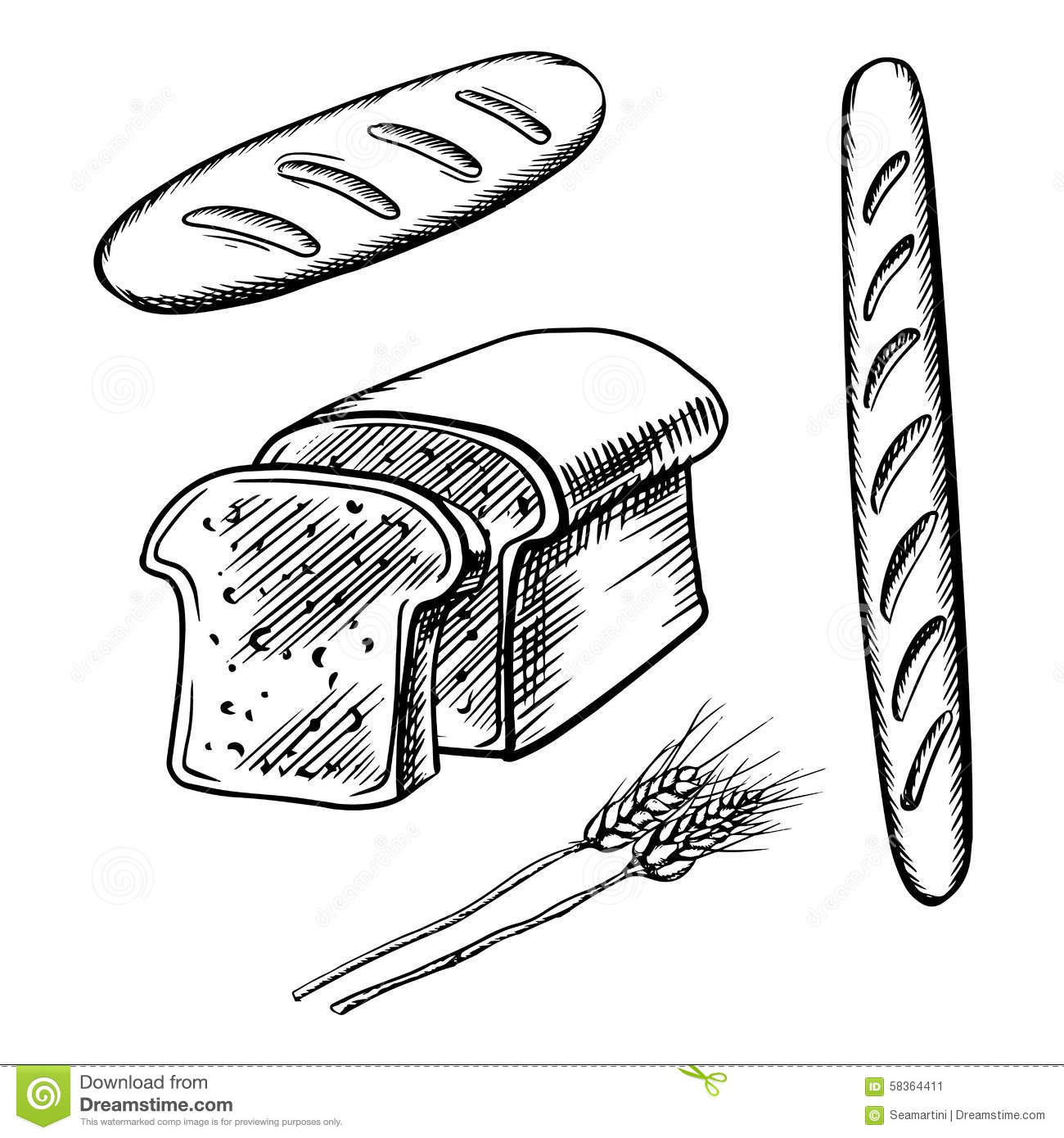 Sliced Bread Long Loaf And Baguette Stock Vector