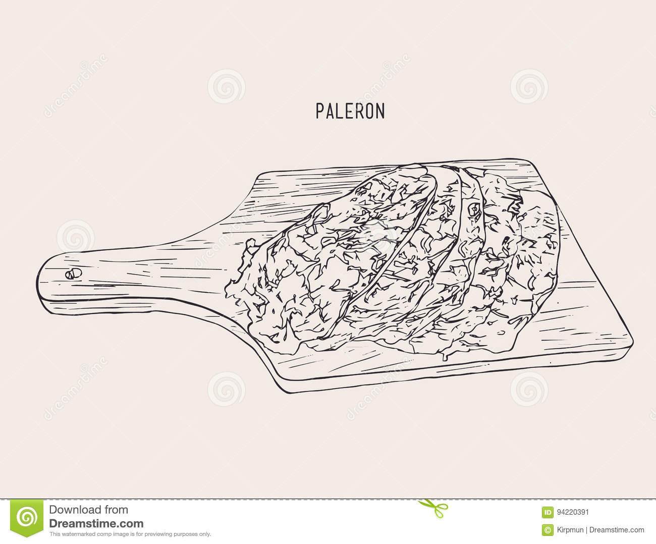 Sliced Paleron Meat Sketch Vector Stock Vector