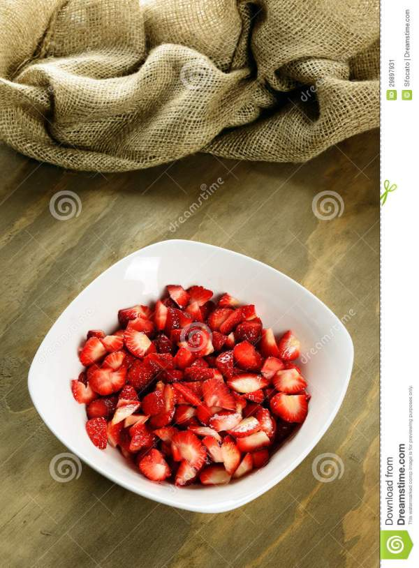 Sliced Strawberries In A Bowl Stock Image Image 29897931