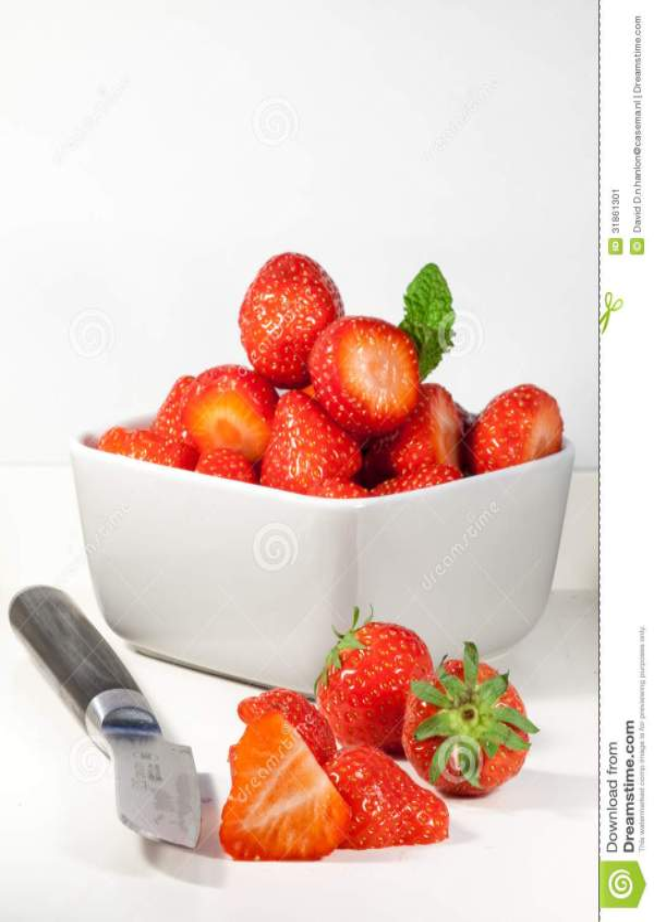 Sliced Strawberry And Fruit Knife Stock Image Image