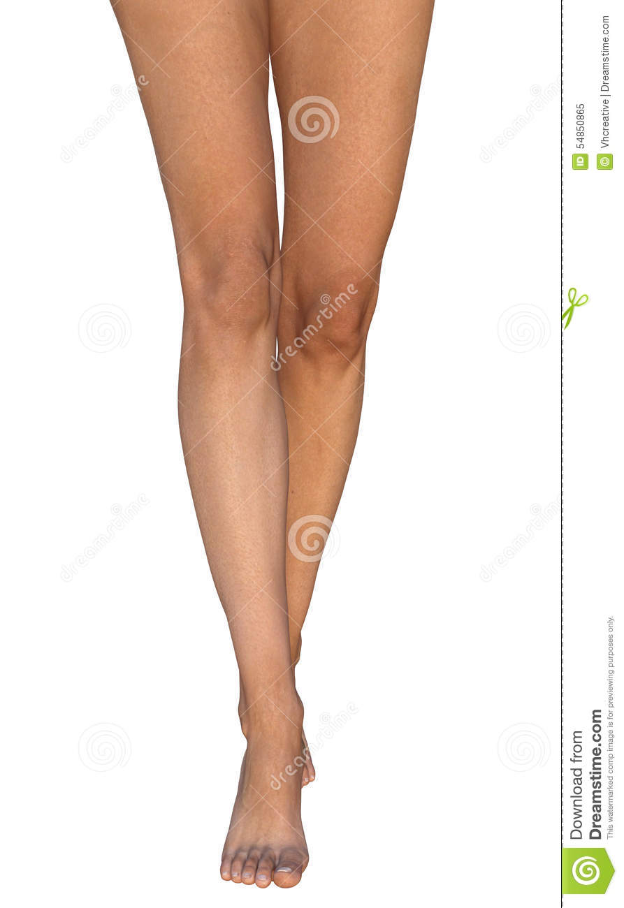 Slim Barefoot Tanned Female Legs Standing On Toes Stock
