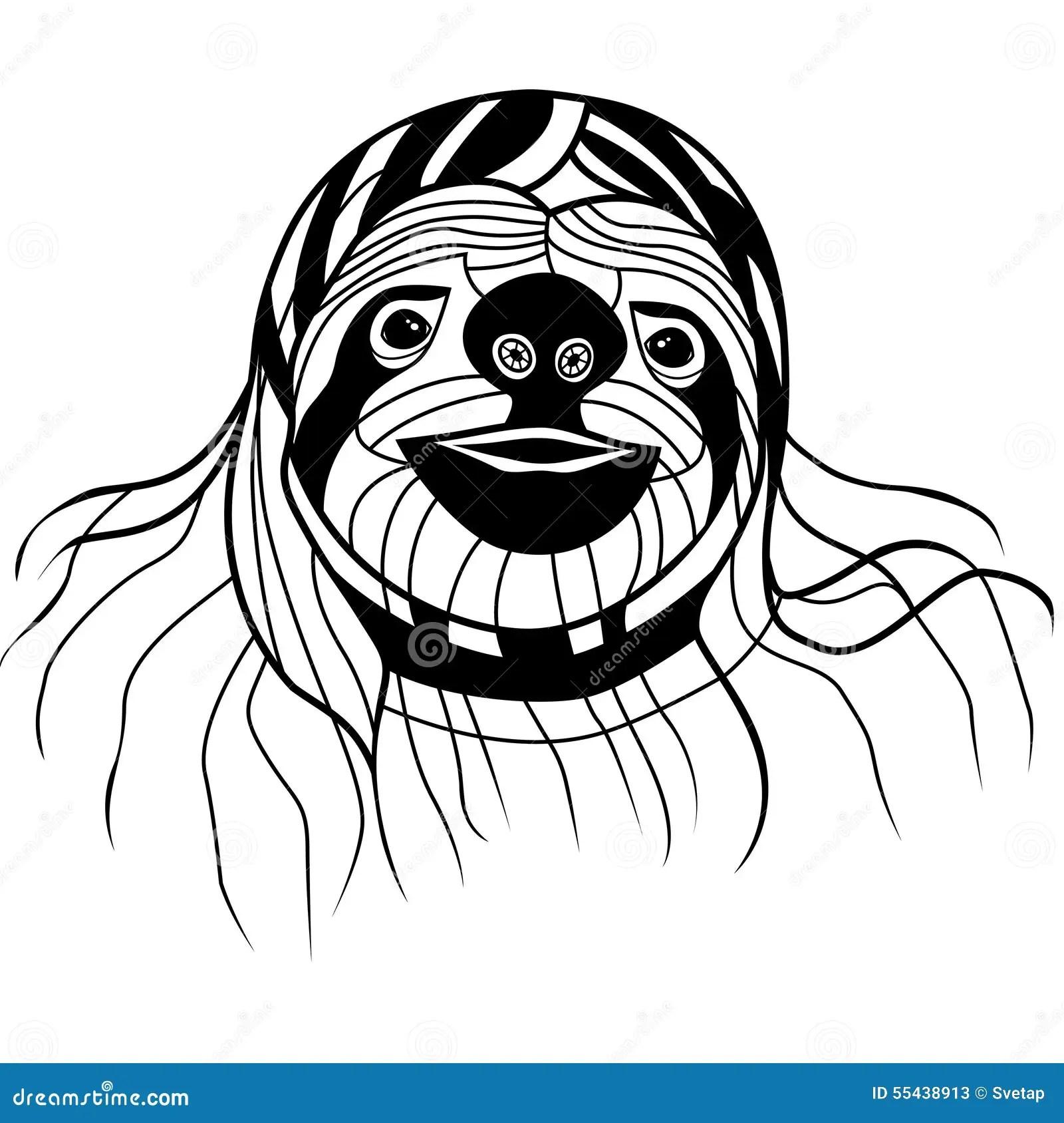 Sloth Head Vector Animal Illustration For T Shirt Sketch
