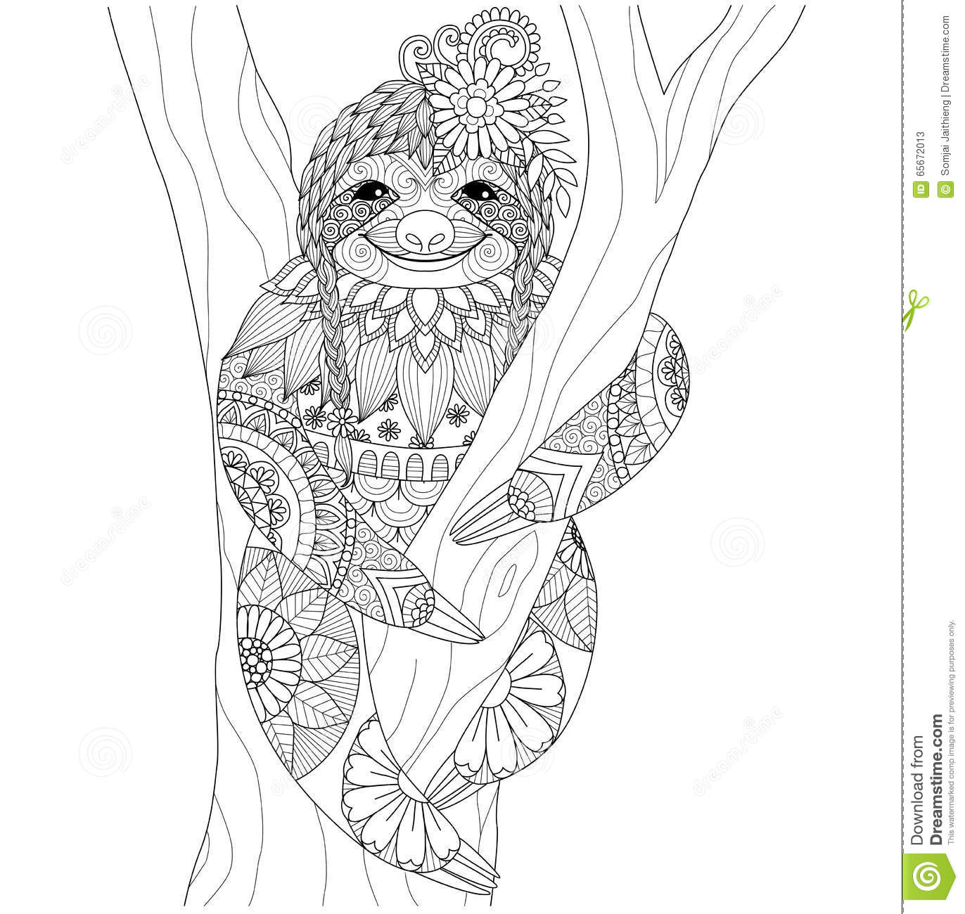 Sloth Coloring Book For Adults Vector Cartoon Vector