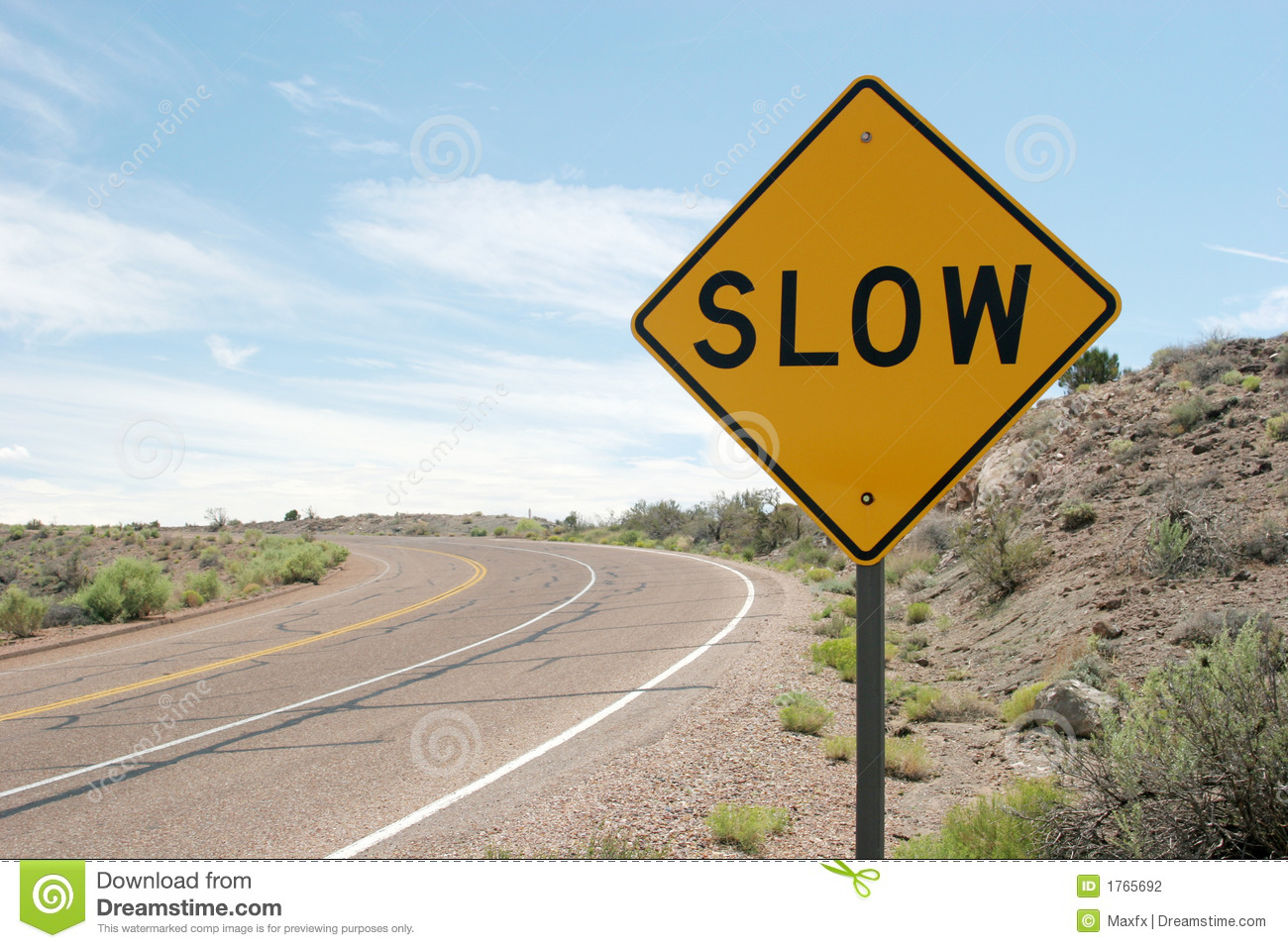 Car In Desert Wallpaper Slow Traffic Sign Stock Photography Image 1765692