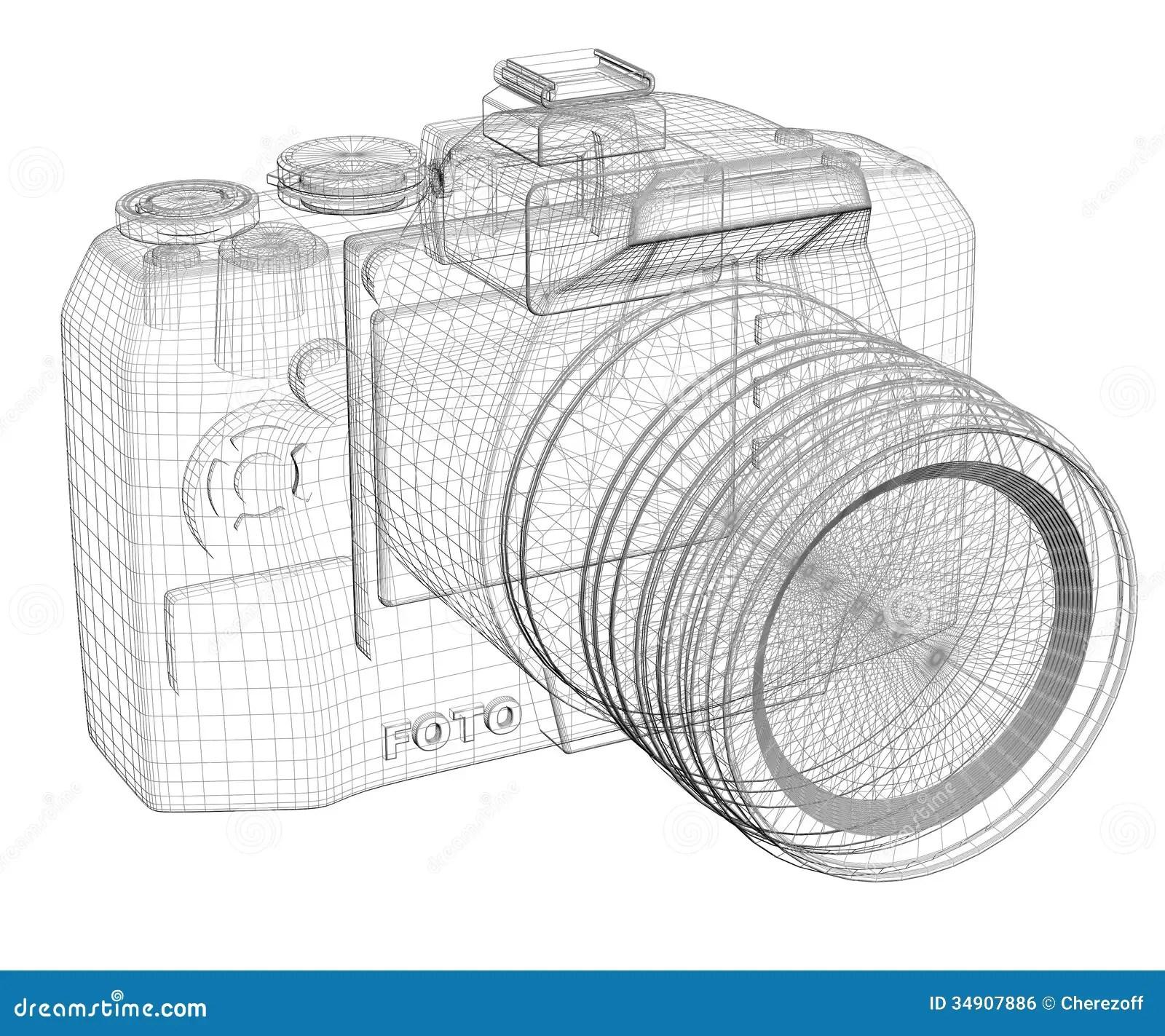 SLR camera. Wire frame stock illustration. Image of