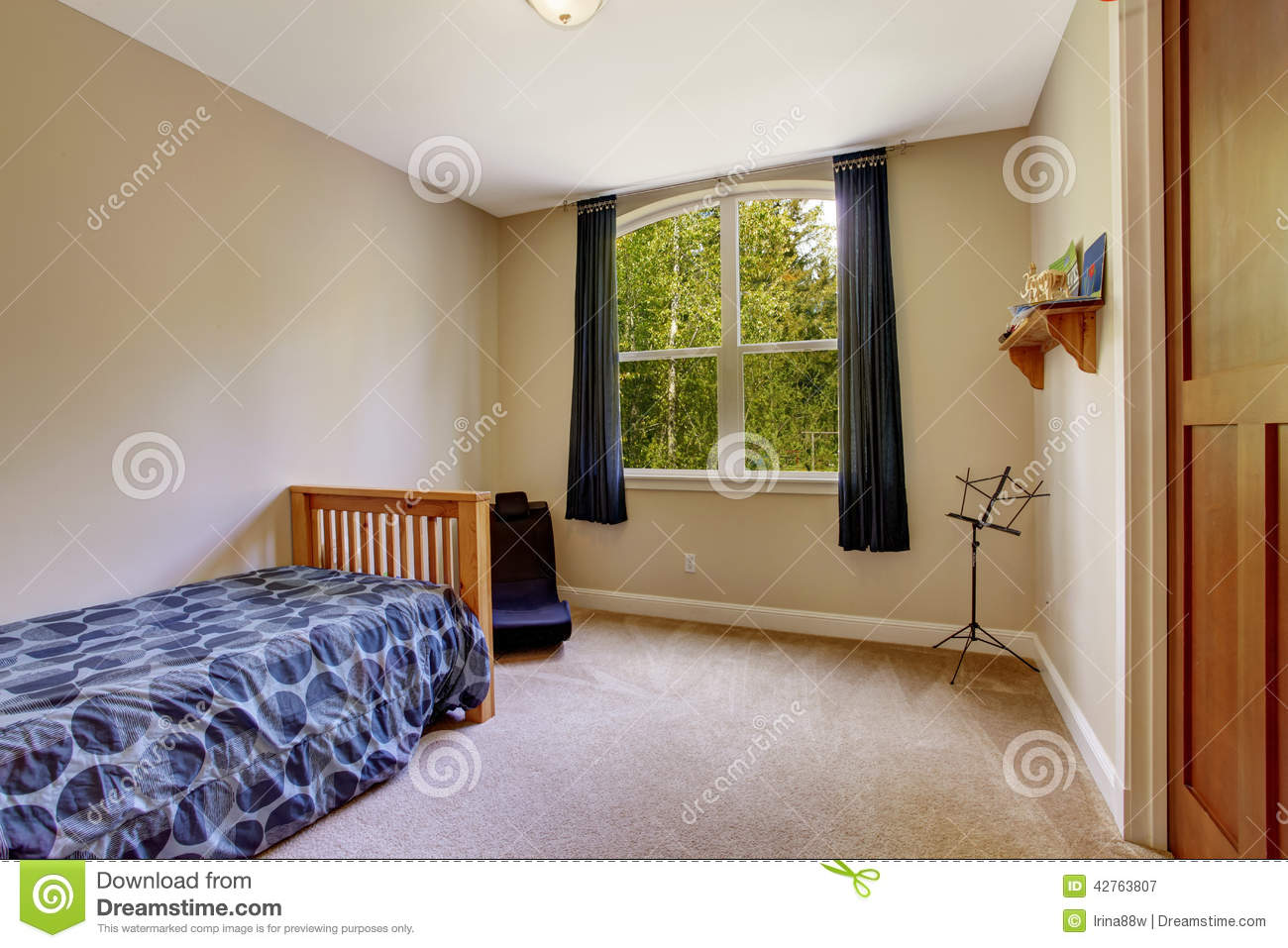 Small Bedroom With Single Bed Stock Image  Image of bedroom northwest 42763807